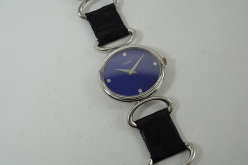Piaget Ladies Watch 18k white gold Lapis & diamond dial all original #9212 rare model 1960-70's all signed really good condition pre owned for sale houston fabsuisse