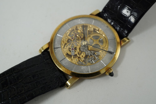 Audemars Piguet Skeletonized Thin Model 18k original dates 1970-80's pre owned for sale houston fabsuisse