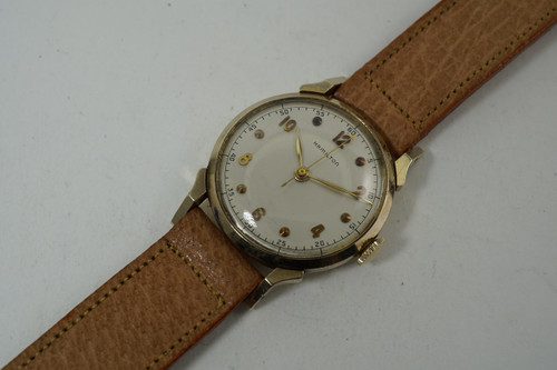Hamilton Standard Oil Award Watch 14k Yellow gold with sweep second c. 1950's pre owned for sale houston fabsuisse