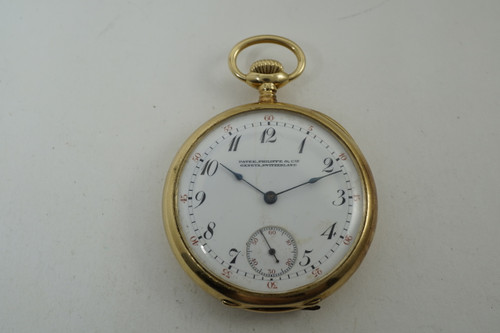 Patek Philippe Pocket Watch open face enamel dial 18k yellow gold running antique pocketwatch c.1910 pre owend for sale houston fabsuisse
