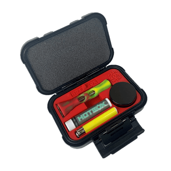 Small Kit: Chillum Red tray in latchable box with lid open (Pictured: Glass chillum with silicone sleeve, herb storage container, bowl poker,  Mini lighter, lip balm)