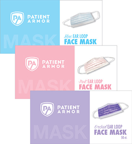 Overlapping Blue, Pink, and Orchid colored Patient Armor Level 1 Masks