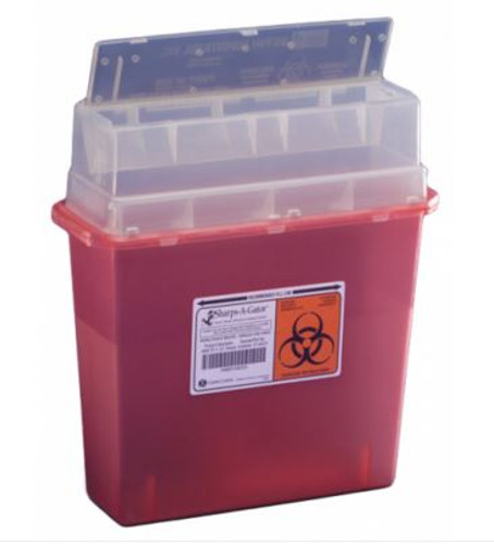 Sharps-A-Gator Tortuous Path Transl Red 5Qt