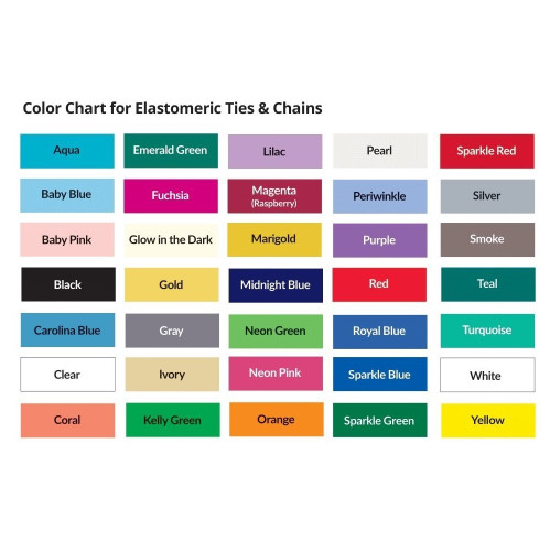 Chart of available colors for Elastomeric Ties