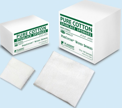 Pure Cotton Spunlace Sponges NS 4-ply 4x4