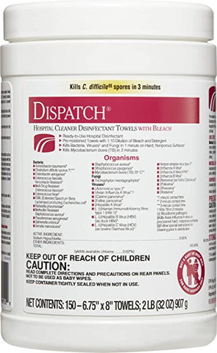 Dispatch Cleaner Disinfectant Towels w/Bleach
