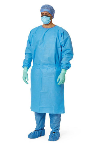 Amtouch Blue with Elastic Cuff Isolation Gown