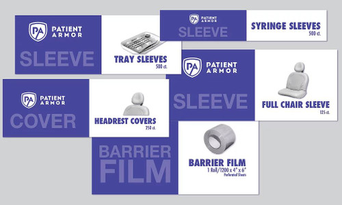 disposable barriers for headrests, chairs, syringes and trays