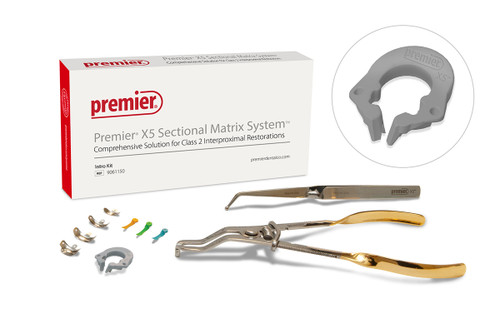Box of Premier X5 Sectional Matrix System Intro Kit with view of Forceps, Pin Holder, Refills, Wedges, and Universal Ring