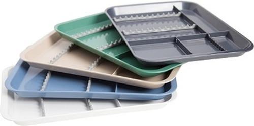 Overlapping White, Blue, Beige, Green & Gray Zirc B-Lok Divided Trays