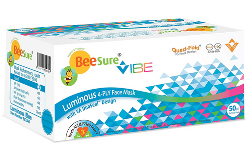 CRN-BE2500, BeeSure Vibe Earloop Face Masks ASTM 3 Luminous Blue 50/Bx