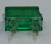 indicator light, rectangular, 28 volt, green, spade terminals, frosted lens