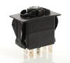 V2D1W66B switch, marine, auto, rocker, on-off, single pole, sealed, Carling, V Series, 2 independent lamps, lit switch, momentary,,46023516,75302-37