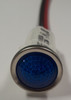 indicator light, 12 volt, led, blue, wire leads, half inch mounting, 1092D6-12V