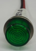 12 Volt Green High Hat Lens LED Indicator Light, Wire Leads, 1092C5-12V