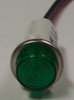 indicator light, 125 volt, led, green, high hat, wire leads, half inch mounting, 1092C5-125VAC