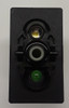Carling rocker switch, double pole, double momentary, spring return to off position, V Series, 2 independent leds, 1 green led, 1 white led, VLD2UXHB,10211690,3975403