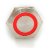 22 mm, sealed, anti vandal, push button,momentary, spring loaded,  red ring, 110 volt illuminated, DH221NBSRZ110, 110 volt red illumination