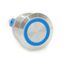 22 mm, sealed, anti vandal, push button,momentary, spring loaded,  blue ring, 110 volt illuminated, DH221NBSBZ110, 110 volt blue illumination