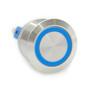 22 mm, sealed, anti vandal, push button,latching, push on, push off,  blue ring, 110 volt illuminated, DH221LBSBZ110, 110 volt blue illumination
