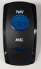 VVGWC, nav anc Switch Cover, Black with 1 Blue Oval Lens, 1 Blue Bar Lens, Carling, rocker switch actuator, nav anchor switch cap, marine anchor switch
