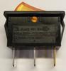amber rocker switch, 12 volt, lit, on off rocker, maintained, spst rocker, RB141C1000-124, appliance rocker, 6.3 mm terminals