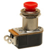 push button switch, momentary off, on, solder terminals, red button, Carling, P27L-RD