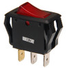appliance style rocker switch, illuminated, lit, 12 volt, red lit lens, single pole, on off, maintained, quick connects,7400011, rs-ar-007