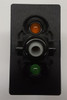 VBD2YNHB, Carling V Series rocker switch, momentary, double pole, 2 independent lamps, 1 amber LED & 1 super bright green LED