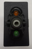 Carling V Series rocker switch single pole,  Circuit 1 & 2 ON, Circuit 1 ON-OFF,  1 Ind Amber & 1 Ind Super Bright Green LED lamps, VGD2YNHB,112058
