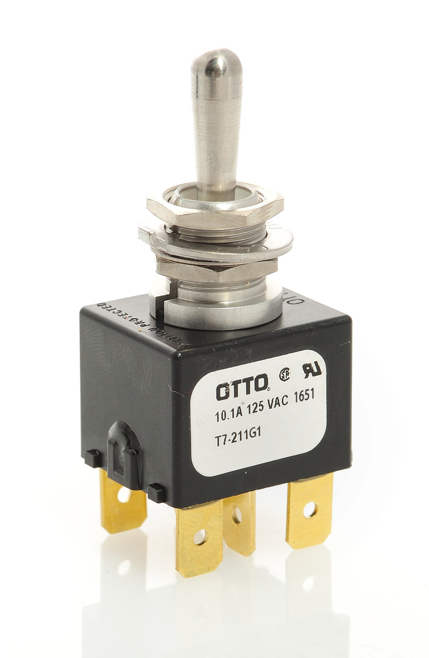 T7-211G1 Otto On-Off-Momentary On Toggle Switch, spade terminals on