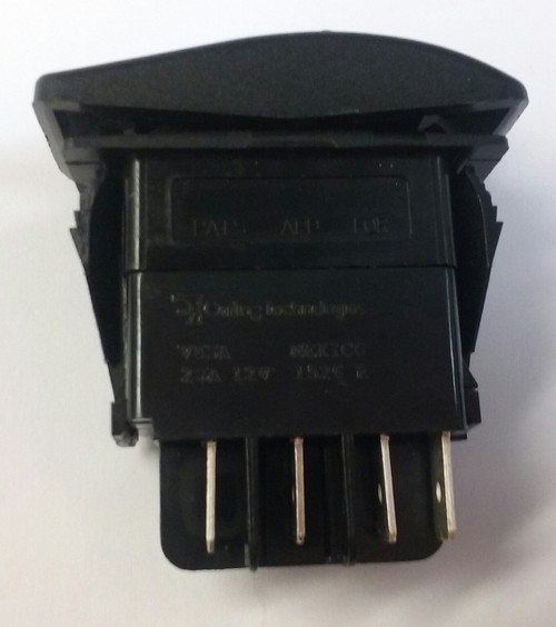 Locking Rocker switch, Carling, V Series, single pole, momentary, spring return to center off, lock on actuator, full switch and cap, protects from accidentally turning it on, V8DAHW6B-AP1
