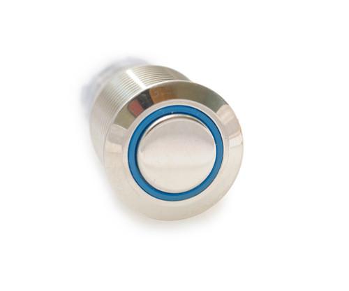 16 mm, sealed, anti vandal, push button, latching, blue, illuminated, 110 volt, ch2lesb110s, push on, push off switch. blue illumination