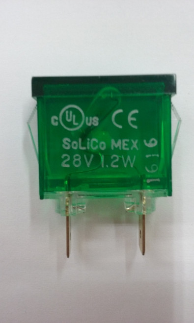 indicator light, rectangular, 28 volt, green, spade terminals, frosted lens, 3239-3-00-17440, 447937, solico