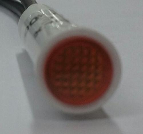 indicator light, round, 250 volt, neon, amber, solico, wire leads, flush diamond
