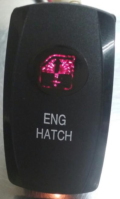 engine hatch, rocker switch cover, red lens, Carling, V Series, Contura, Black,033-0620