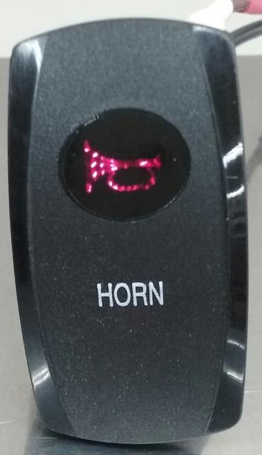 horn, rocker switch cover, red lens, Carling, V Series, Contura, Black