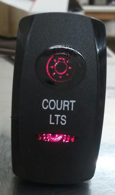 Court Lights switch cover, rocker switch, court lights legend, black, 2 red lenses, Carling,033-0616