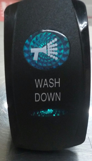 Wash Down Switch Cover, Black with 1 Blue Oval Lens, 1 Blue Bar Lens, Carling, rocker switch actuator
