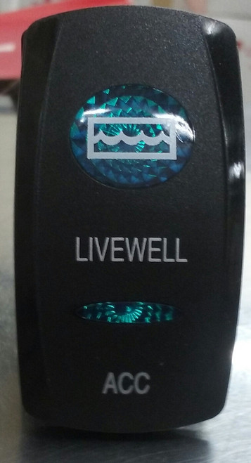 Livewell Acc Switch Cover, Black with 1 Blue Oval Lens, 1 Blue Bar Lens, Carling, rocker switch actuator