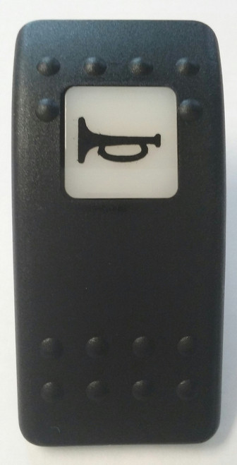 Horn Icon, Switch Cap, Carling Contura 2 actuator, VVA9C00-000, Hard black with one white lens, Horn icon on lens