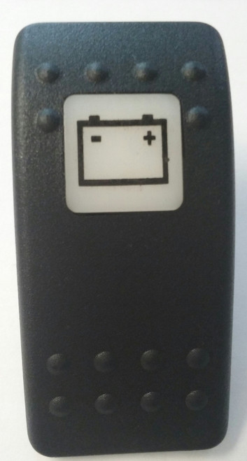 Battery Icon, Switch Cap, Carling Contura 2 actuator, VVA9C00-000, Hard black with one white lens, Battery icon on lens