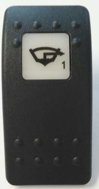 Bilge Pump 1 Icon, Switch Cap, Carling Contura 2 actuator, VVA9C00-000, Hard black with one white lens, Bilge Pump 1 icon on lens