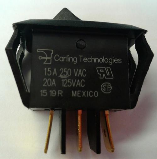 RSCB211-R-B-B-O-N carling, rocker switch, curvette, on on, spdt, spade terminals, black