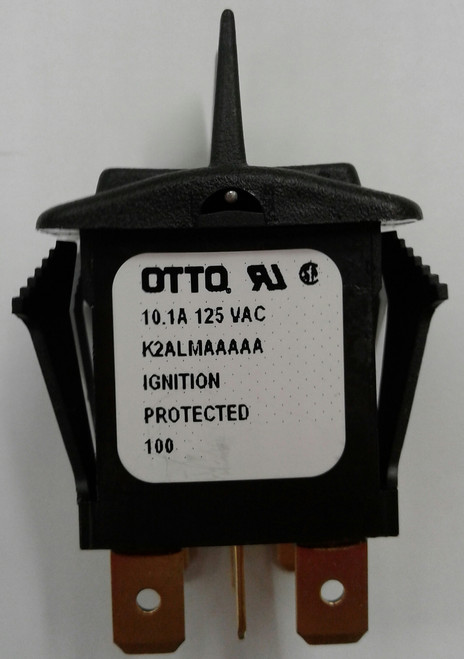 Otto sealed rocker switch, momentary, K2 series, double pole K2ALMAAAAA, black paddle actuator, pinned handle