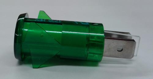 indicator light, neon, 125 volt, green, spade terminals, ring lens, 3150-4-00-57640