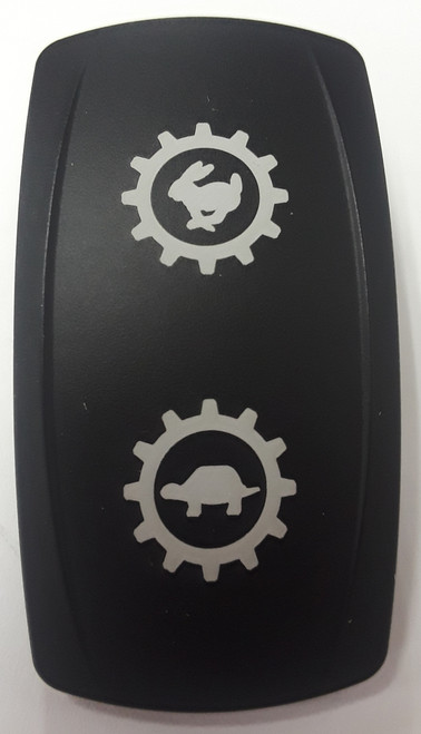 Rabbit & Turtle Laser Etched Icons on Black Carling Actuator, VVPZCXX-1XX-XMCH1  , rocker switch actuator, V series, Contura V, 468-35053-001
