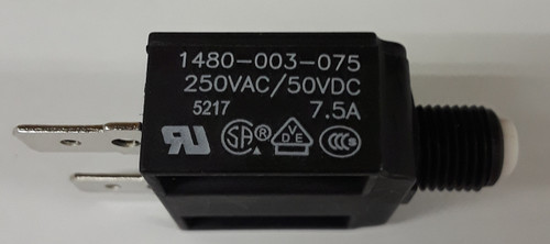 1480-003-075, mechanical products 7.5 amp push to reset circuit breaker, white button, spade terminals, 1480 series, mechanical products, marine circuit breaker, 043-1075a, n10604507.5