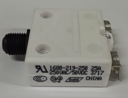 "1680-219-250, mechanical products, 25 amp, push to reset circuit breaker, 3/8"" inch bushing, black button, #8-32 screw terminal"