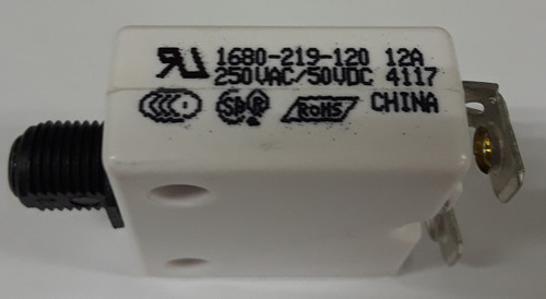 """1680-219-120, mechanical products, 12 amp, push to reset circuit breaker, 3/8"""" inch bushing, black button, #8-32 screw terminal"""